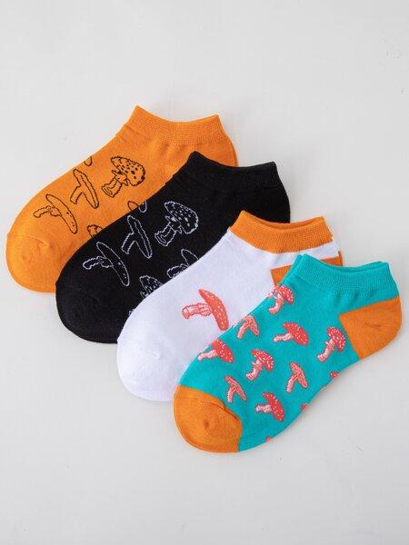 4pairs Mushroom Print Ankle Socks