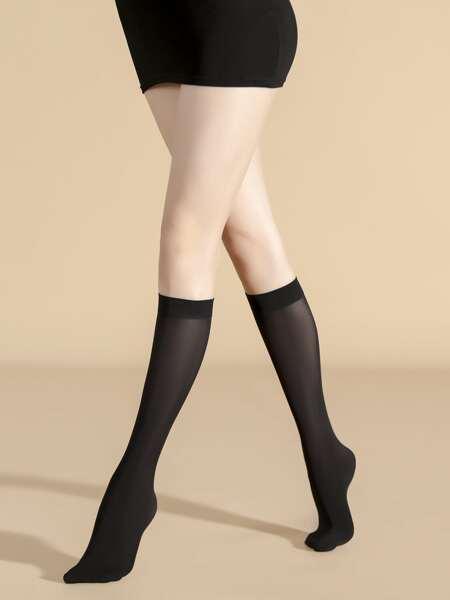 Plain Over The Calf Socks