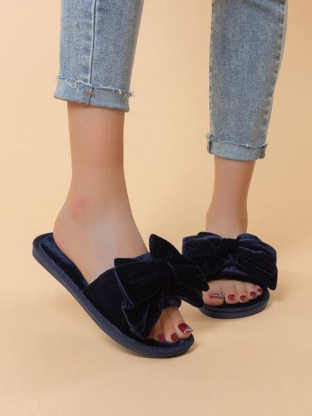 Bow Decor Velvet Slippers