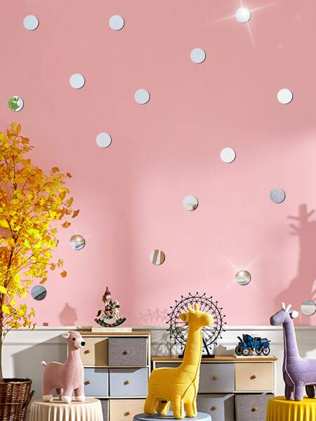 15pcs Kids Circle Mirror Surface Wall Sticker