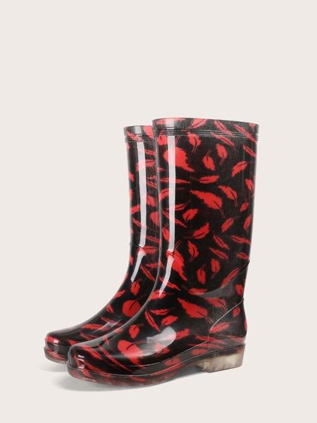 Feather Print Mid Calf Rain Boots