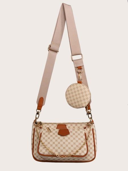 3pcs Geometric Print Shoulder Bag Set