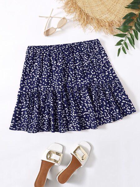 Plus Ditsy Floral Print Ruffle Hem Skirt