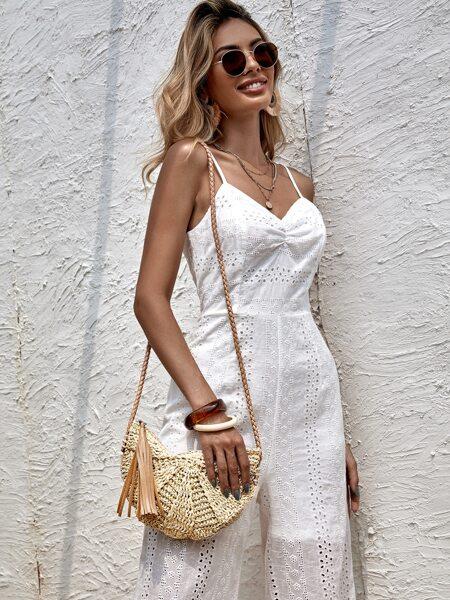 Tassel Decor Straw Crossbody Bag