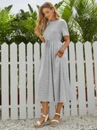 Slant Pocket Self Belted Striped Dress