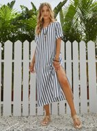 Split Thigh Cuffed Striped Dress