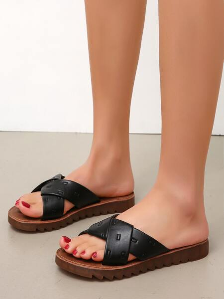 Minimalist Cross Strap Slide Sandals