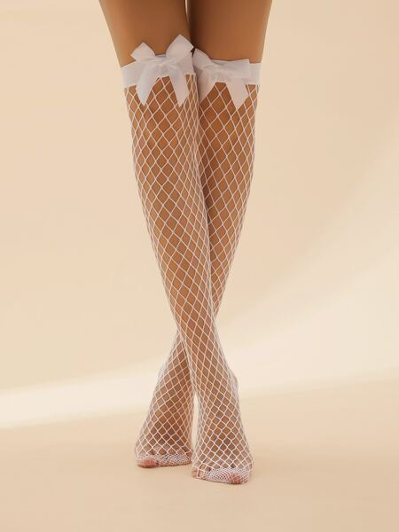 Bow Decor Over The Knee Fishnet Socks