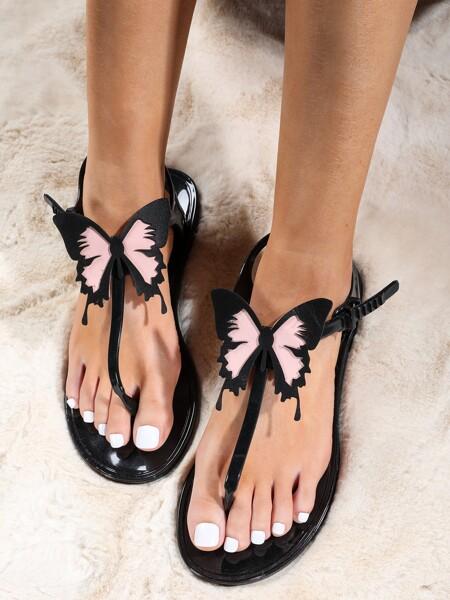 Butterfly Decor Thong Sandals