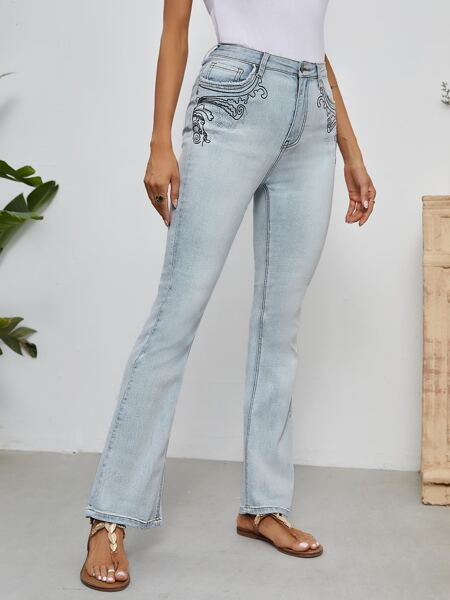 High Waist Graphic Embroidery Flare Leg Jeans