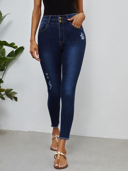 High Waist Ripped Raw Hem Skinny Cropped Jeans