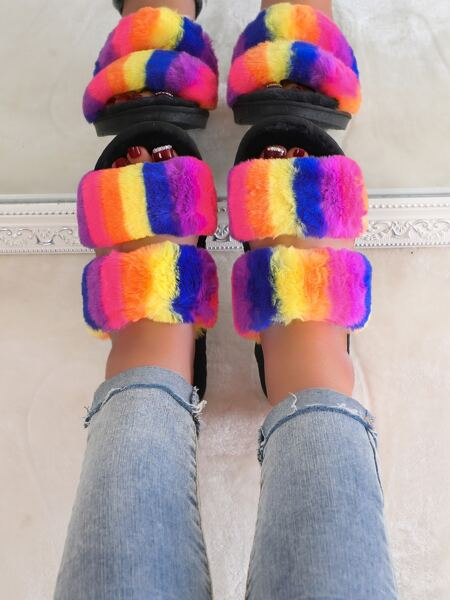 Colorblock Double Strap Fluffy Slippers