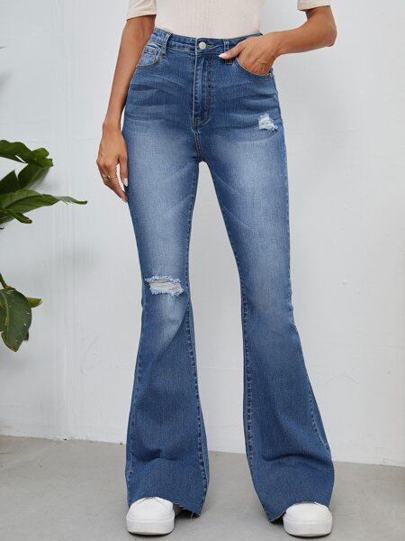 High Waist Ripped Raw Hem Flare Leg Jeans