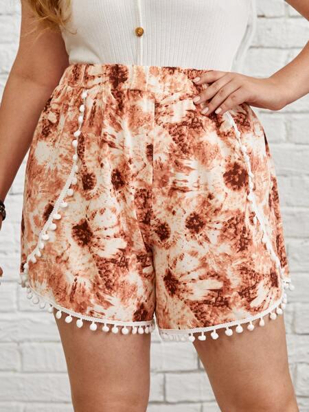 Plus Tie Dye Pompom Trim Shorts
