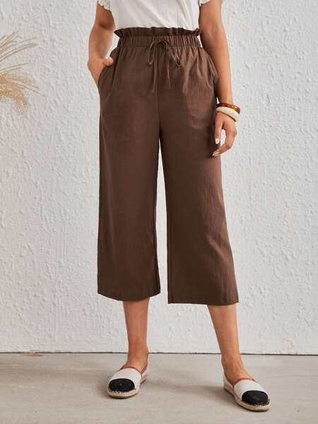 Paper Bag Waist Tie Front Pants