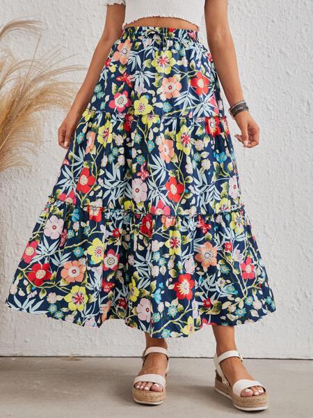 Allover Floral Print Frill Trim Skirt