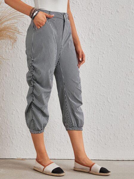 Gingham Ruched Side Slant Pocket Pants
