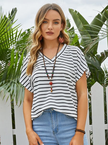 V-neck Batwing Sleeve Striped Tee