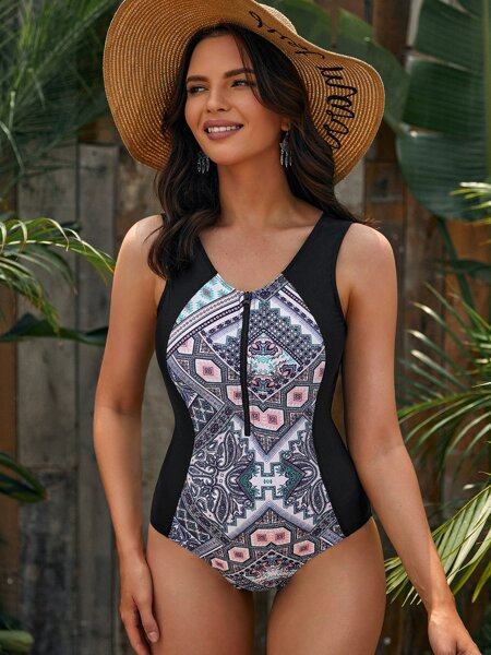 Floral & Geo Print Zip-up One Piece Swimsuit