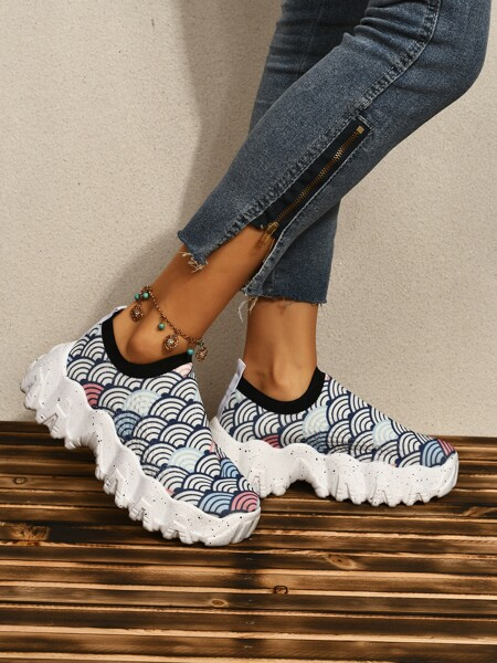 Geometric Print Chunky Sneakers