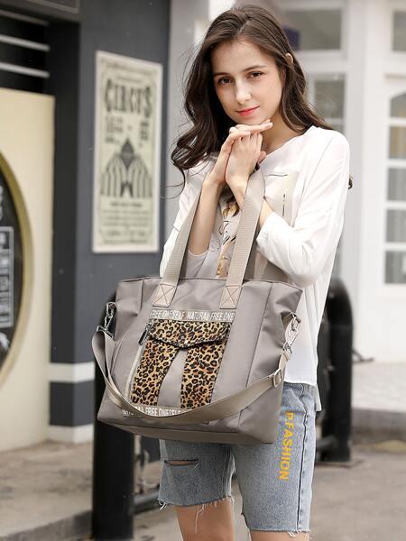 Letter & Leopard Graphic Duffle Bag