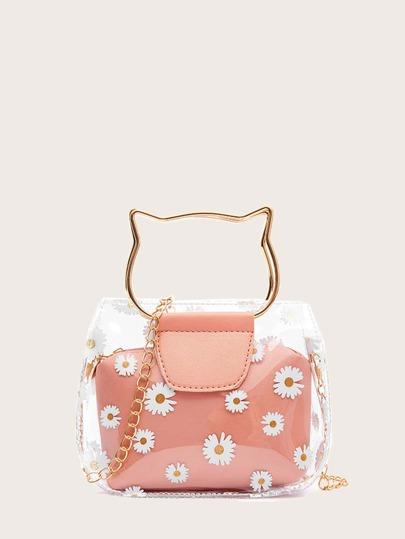 Cat Ring Handle Daisy Satchel Bag