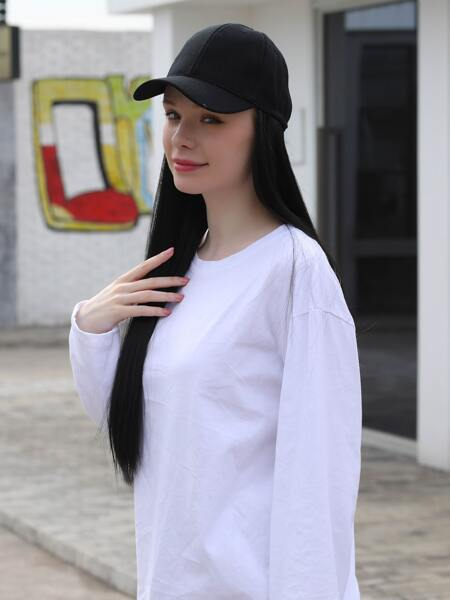 Natural Long Straight Wig With Cap