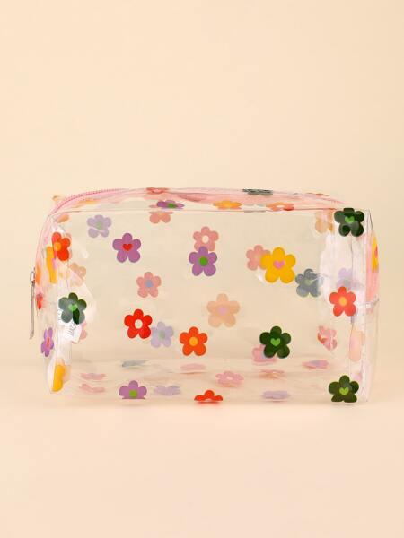 Flower Print Clear Square Makeup Bag