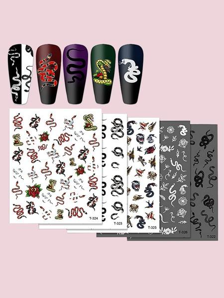 5sheets Snake Pattern Nail Art Sticker