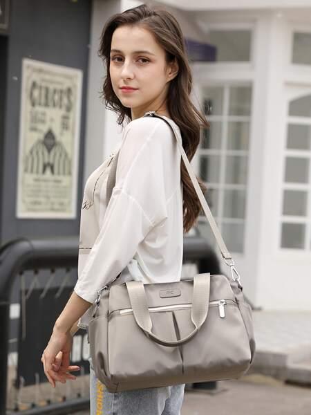 Zip Front Nylon Tote Bag