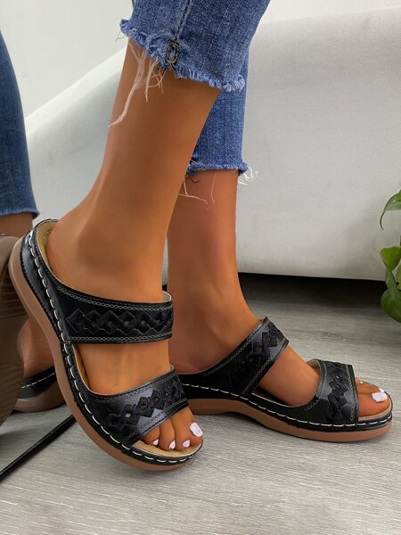 Embroidery Detail Hollow Out Slide Sandals