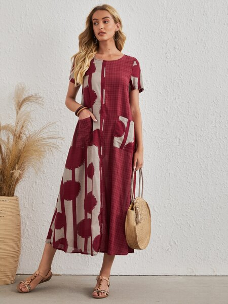 Plaid Panel Pocket Front Tunic Dress