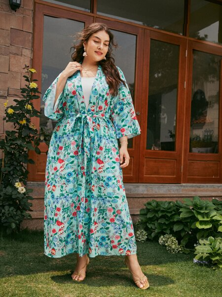 Plus Floral Print Belted Kimono