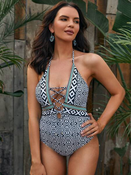 Geo Print Lace-up One Piece Swimsuit