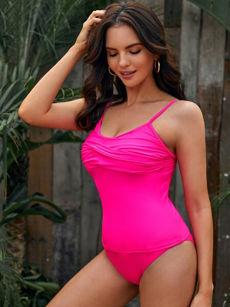 Neon Pink Ruched Bikini Swimsuit