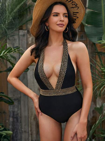 Open Back Plunging One Piece Swimsuit