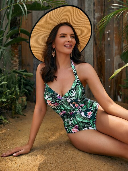 Floral & Plant Print Halter One Piece Swimsuit