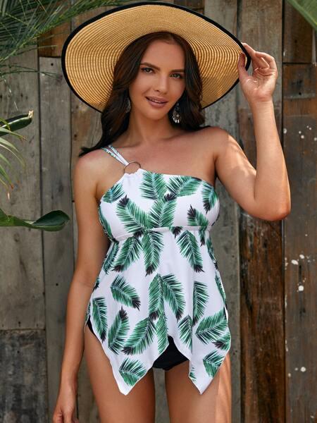 Tropical Asymmetric Hem Bikini Swimsuit