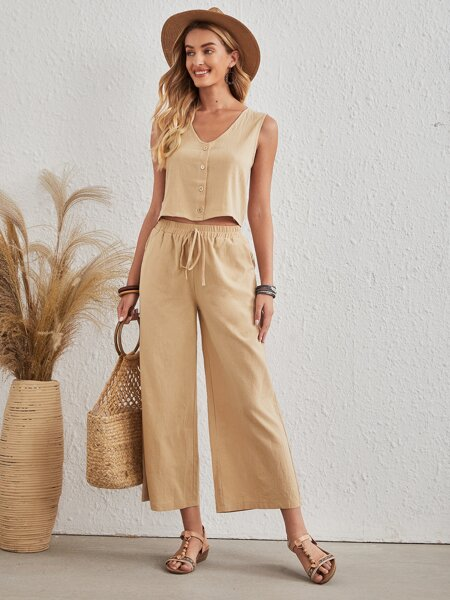 Solid Button Front Tank Top & Pants