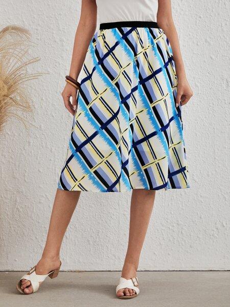 Argyle Print A-line Skirt