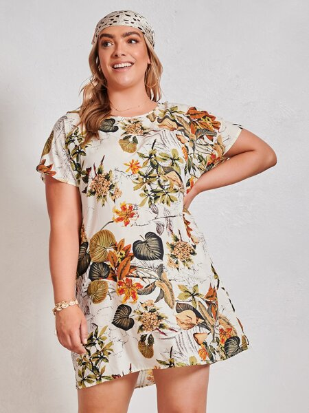 Plus Tropical Print Tunic Dress