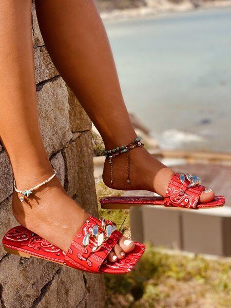 Chain Decor Paisley Graphic Slide Sandals