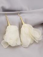 Fabric Flower Drop Earrings
