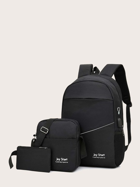 3pcs Letter Graphic Backpack With Crossbody Bag
