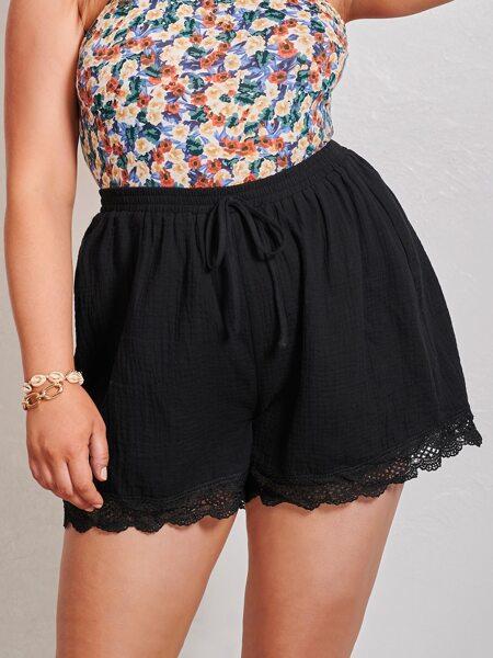 Plus Guipure Lace Hem Wide Leg Shorts