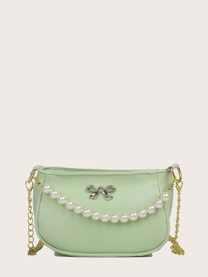Faux Pearl Handle Solid Satchel Bag