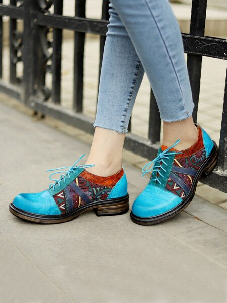Geo Graphic Lace-up Front Leather Oxford Shoes