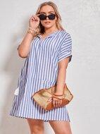 Plus Tie Neck Pocket Patched Striped Dress