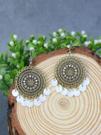 Disc Charm Hollow Out Drop Earrings