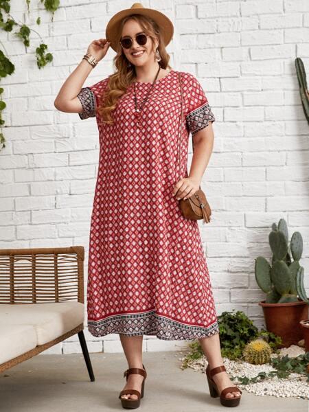 Plus Allover Print Tunic Dress
